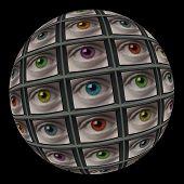 Sphere Of Video Screens Showing Multi-colored Eyes