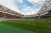 MOSCOW - SEP 7: A full stadium on game Russian team against Northern Ireland on Lokomotiv Stadium in