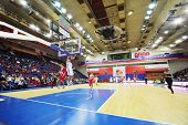 MOSCOW - SEPTEMBER 29: Olympiakos (Greece) and Lokomotiv-Kuban (Russia) teams play basketball in tou