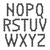 Bicycle chain alphabet. Vector.