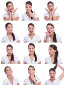 young woman face expressions composite isolated on white background