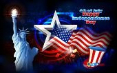image of labourer  - illustration of Statue of Liberty on American flag background for Independence Day - JPG