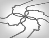 stock photo of three dimensional shape  - Network team business concept with a group of merging roads and highways shaped as a human head converging and coming together connected as a community partnership tat are crossing paths - JPG