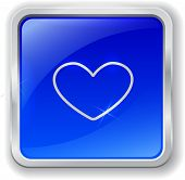 Heart Icon On Blue Button