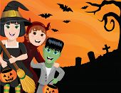 stock photo of frankenstein  - An illustration of three kids in Halloween costumes against a spooky backdrop - JPG