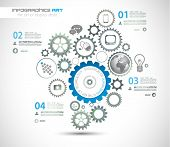 image of gear  - Infographic design template with gear chain - JPG