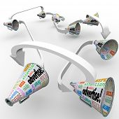 Many bullhorns or megaphones with the word Advertise and other terms such as attention, pitch, publi