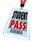 A student pass in badge holder and with lanyard that a school pupil would wear on a special event or