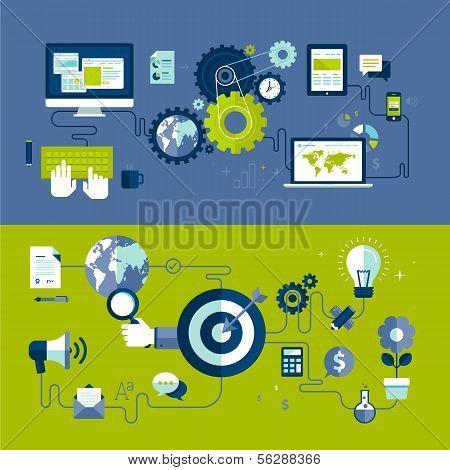 Flat design vector illustration concepts of responsive web design and internet advertising process poster