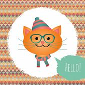 Hipster Cat In Textured Frame Design