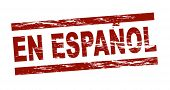 Stylized red stamp showing the term en espanol. All on white background.