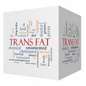 picture of trans  - Trans Fat 3D Cube Word Cloud Concept with great terms such as grams diet unsaturated and more - JPG