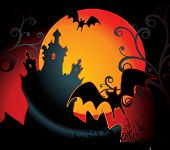 halloween illustration with full orange moon
