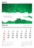 March 2013 A3 calendar - vector illustration