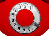close-up view on old red telephone dial