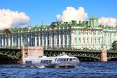 meteor - hydrofoil boat on Neva river in St. Petersburg Russia