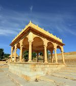 stock photo of jain  - old jain cenotaph in jaisalmer rajasthan india - JPG