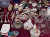 picture of thrift store  - Knick knack items at a garage sale stand - JPG