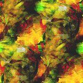 abstract avant-garde yellow, green seamless wallpaper watercolor