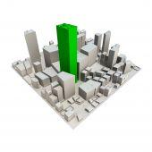 Cityscape Model 3D - Green Skyscraper