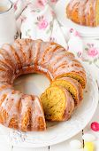 Sliced Pumpkin Bundt Cake With Sugar Icing