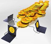 foto of bitcoin  - Computer generated photo of a Bitcoin digital currency mining - JPG