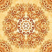 picture of mehndi  - Ornate vintage circle vector seamless pattern in mehndi style - JPG