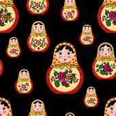 seamless pattern with cute russian dolls