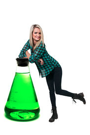 picture of pyrex  - Beautiful woman standing beside a tempered glass beaker - JPG