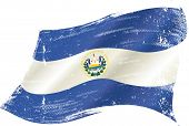 waving Salvadoran grunge flag. A waving flag of  el salvador with a grunge texture
