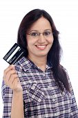 Happy Young Indian Girl Holding Credit Card