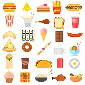 illustration of flat fast food icon on white background