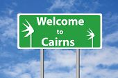 image of oz  - Welcome to Cairns sign with sky background - JPG