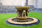 The Lion Fountain In The Courtyard Of The Maria Laach Abbey In Germany