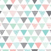 Seamless geometric tribal triangle hand drawn background pattern in vector