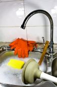Sanitary Problem Still Life With Sink, Gloves And Plunger.