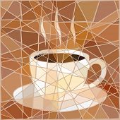 Editable vector mosaic illustration of a cup of steaming coffee