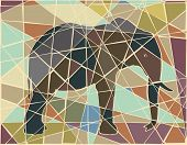 Editable vector colorful mosaic illustration of an African elephant