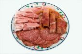 A Dish Of Various Mx Sliced Salami And Ham. A Typical Italian Ap