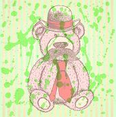 Sketch Teddy Bear In Hat And Tie With Mustache, Vector Background