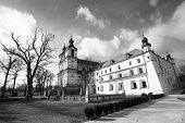 St. Stanislaus Bishop Church in Krakow, black and white photo.