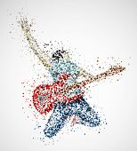 stock photo of guitarists  - Abstract guitarist from circles - JPG