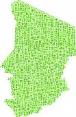 picture of chad  - Decorative map of the Republic of Chad in a mosaic of green squares - JPG