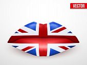 Beautiful luscious lips with flag of Great Britain texture