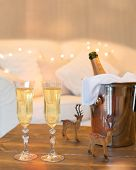 Two glasses of champagne with ice bucket and reindeer