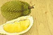 Green Durian Ripe And Part With Spikes