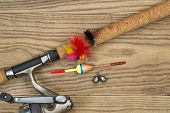 Fishing Equipment On Old Wood