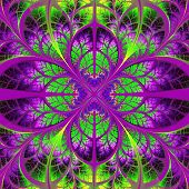 Symmetrical Fractal Pattern. Collection - Tree Foliage. Green And Purple Palette.
