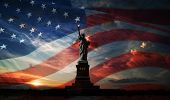 image of statue liberty  - Statue of Liberty on the background of flag usa and sunrise - JPG
