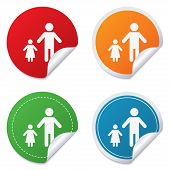 One-parent family with one child sign icon.